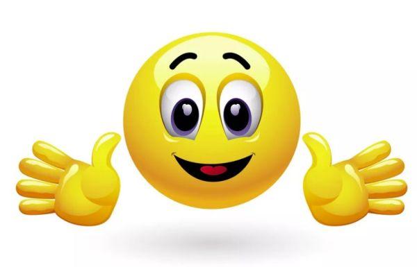 Смайлик с ладошками: улыбающееся довольное лицо и две ладони вверх