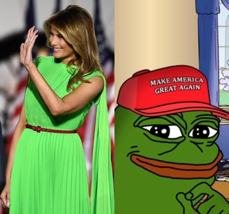 Первая леди США появилась на публике в неоновом платье, но  в  Инстаграме подняли на смех наряд за 200 тысяч рублей